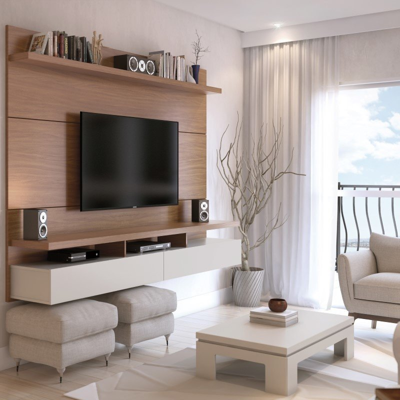 Manhattan Comfort City 2.2 Floating Wall Theater Entertainment Center in Maple Cream and Off White