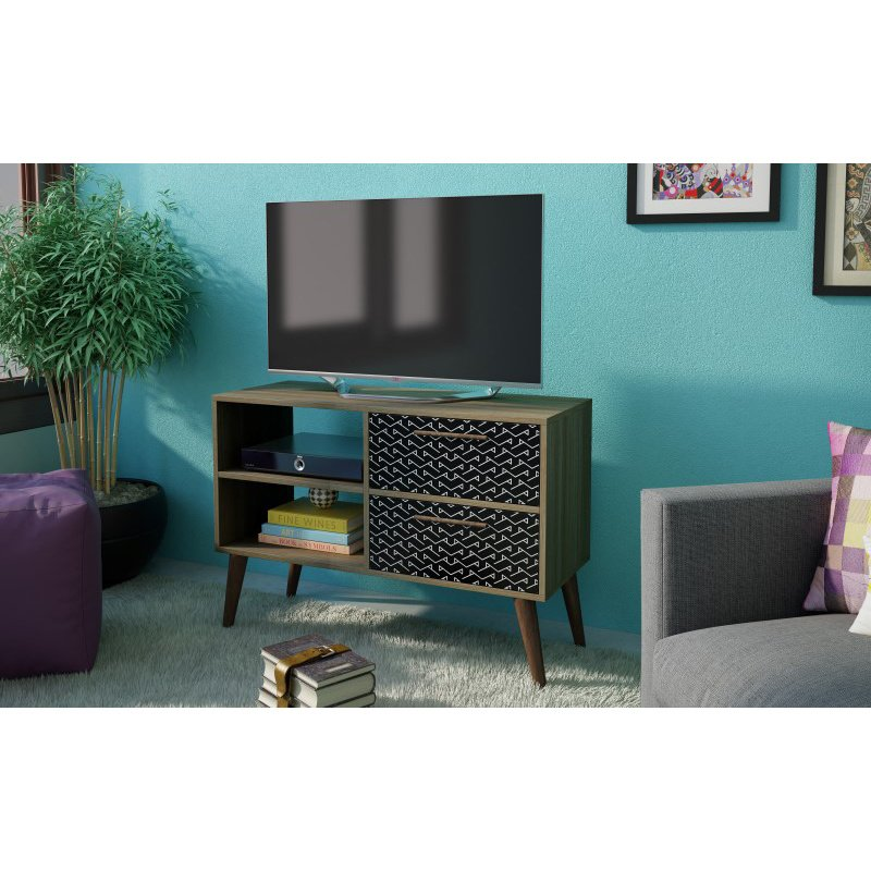 """Manhattan Comfort Dalarna 2.0- 35.43"""" TV Stand with 2-Drawers in Oak Frame with Charcoal and White Print (3AMC161)"""