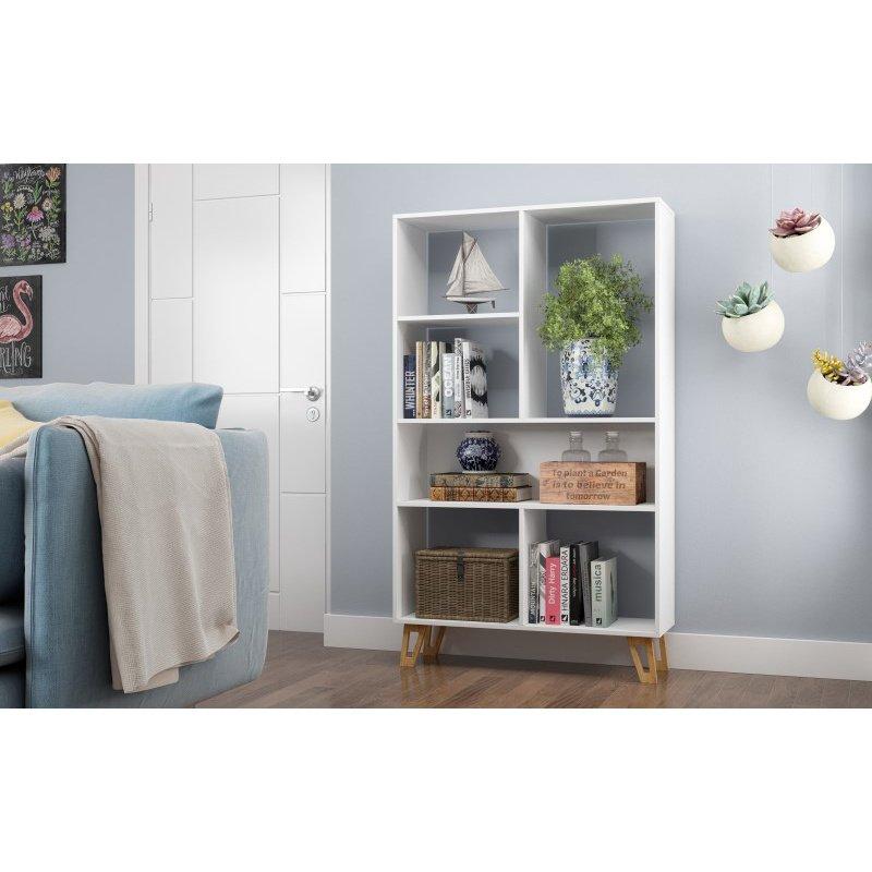 Manhattan Comfort Doris 6-Shelf Mid Century Bookcase in White (123AMC159)