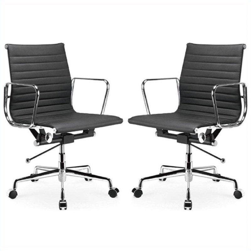 Manhattan Comfort  Ellwood Mid-Back Adjustable Office Chair in Black (Set of 2)