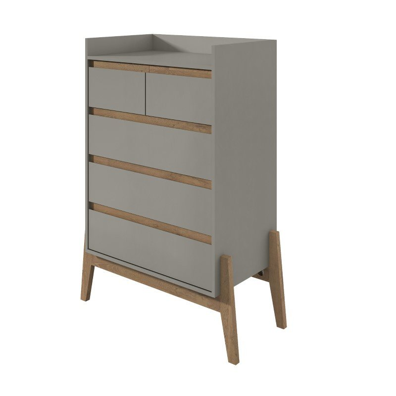 "Manhattan Comfort Essence 48.23"" Tall Dresser with 5 Full Extension Drawers in Grey (350845)"