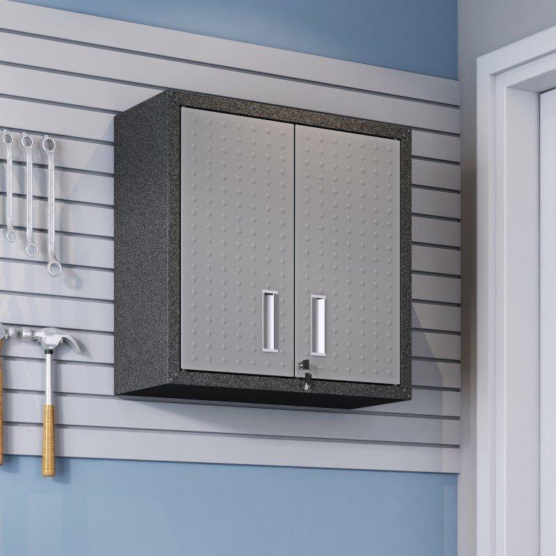 "Manhattan Comfort Fortress 30"" Floating Textured Metal Garage Cabinet with Adjustable Shelves in Grey (5GMC)"