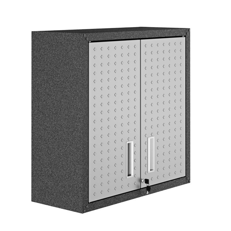 "Manhattan Comfort Fortress 30"" Floating Textured Metal Garage Cabinet with Adjustable Shelves in Grey - Set of 2 (2-5GMC)"
