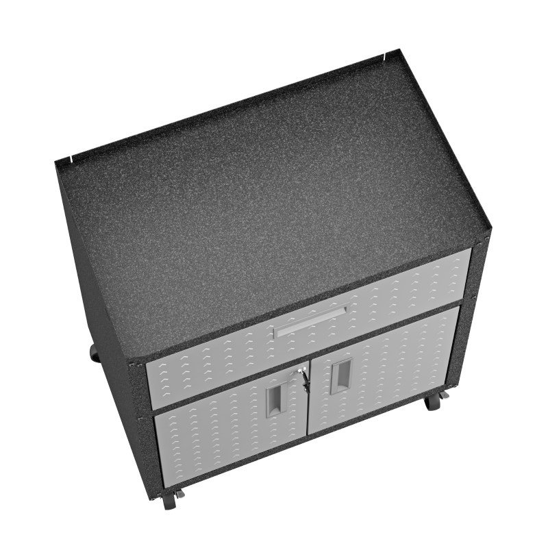"Manhattan Comfort Fortress Textured Metal 31.5"" Garage Mobile Cabinet with 1 Full Extension Drawer and 2 Adjustable Shelves in Grey (2GMCC)"
