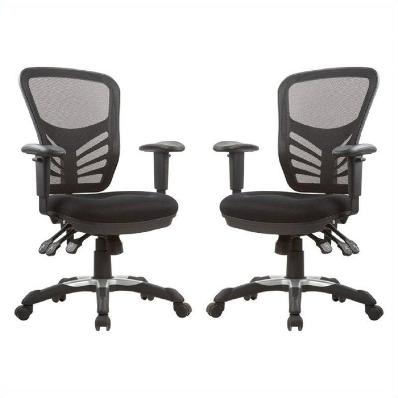 Manhattan Comfort Gouvernor Executive Mesh High-Back Adjustable Office Chair in Black (Set of 2)