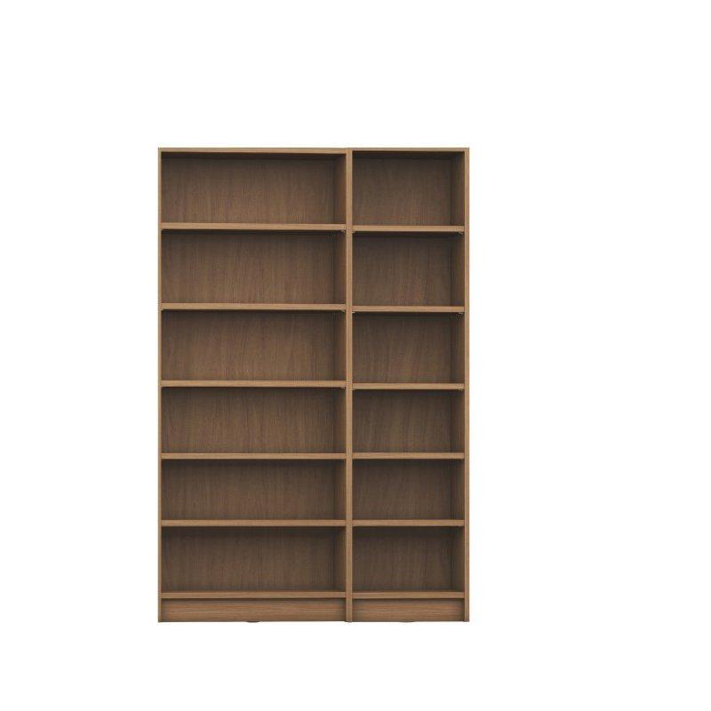 Manhattan Comfort Greenwich 2 Piece Bookcase 12 Wide and Narrow Shelves in Maple Cream