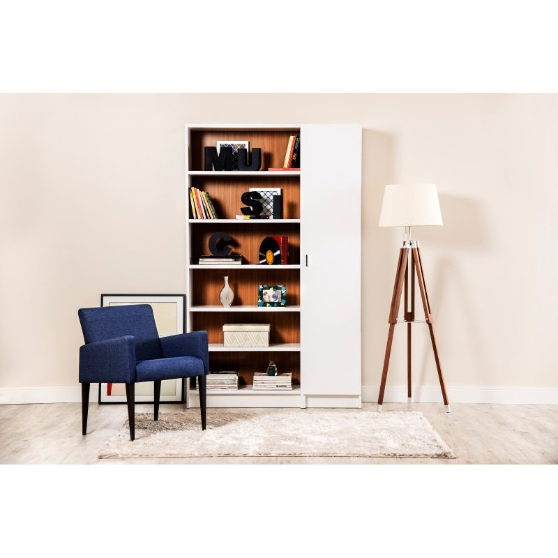 Manhattan Comfort Greenwich 2 Piece Bookcase 12 Wide and Narrow Shelves with 2 Narrow Doors in White Matte and Maple Cream