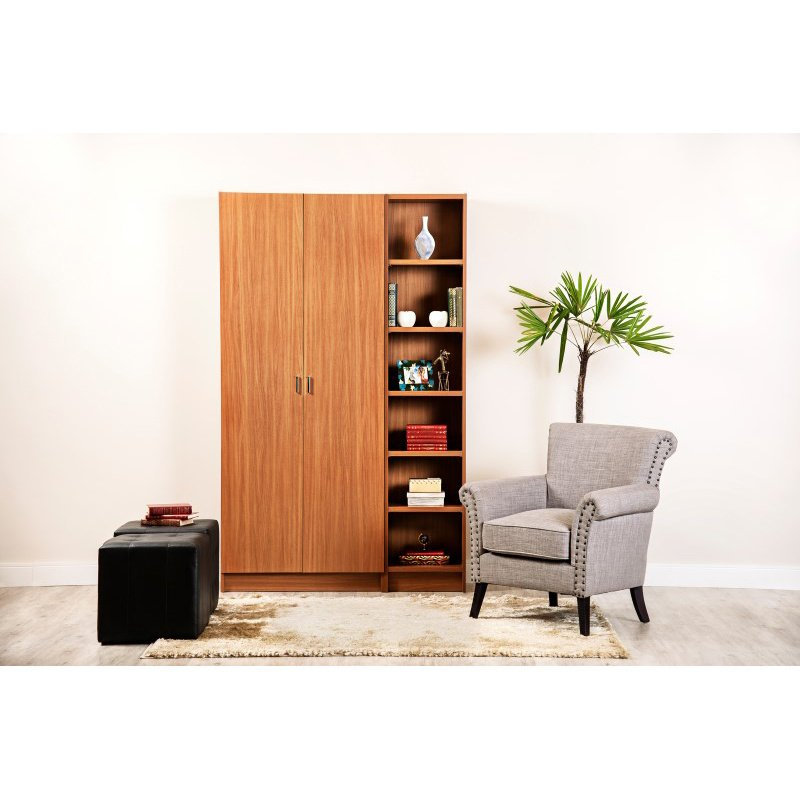 Manhattan Comfort Greenwich 2 Piece Bookcase 12 Wide and Narrow Shelves with 2 Wide Doors in Maple Cream