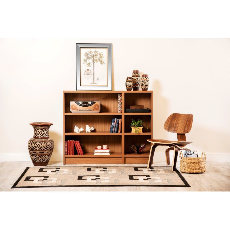 Manhattan Comfort Greenwich 2 Piece Lower Bookcase with 6 Wide and Narrow Shelves in Maple Cream