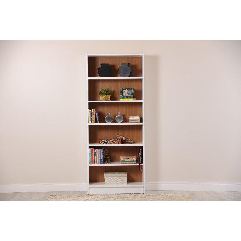 Manhattan Comfort Greenwich 6 Shelf Wide Trente 1.0 Bookcase in White Matte and Maple Cream