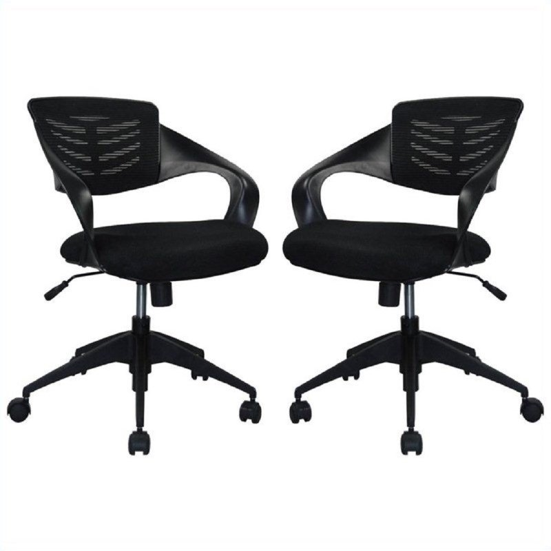 Manhattan Comfort Grove Mid-back Office Chair in Black (Set of 2)