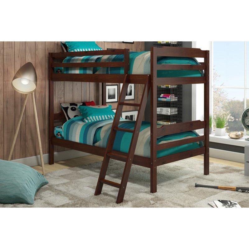 Manhattan Comfort Hayden Solid Pine Wood Twin Size Bunk Bed in Honey