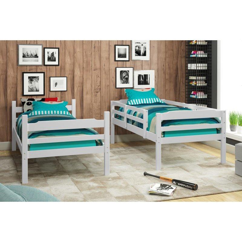 Manhattan Comfort Hayden Solid Pine Wood Twin Size Bunk Bed in White