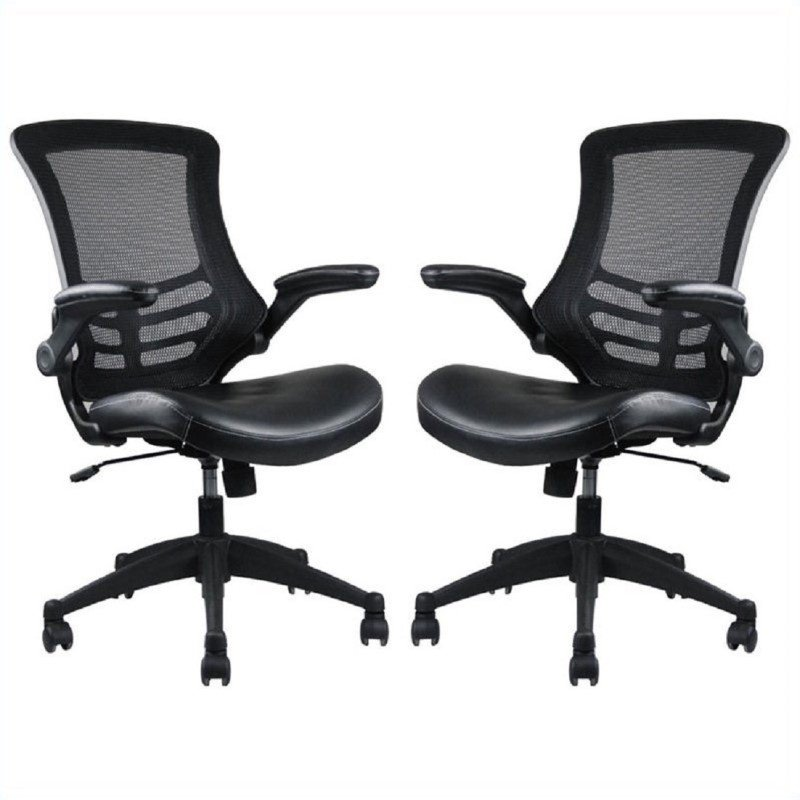 Manhattan Comfort Intrepid High-back  Office Chair in Black (Set of 2)