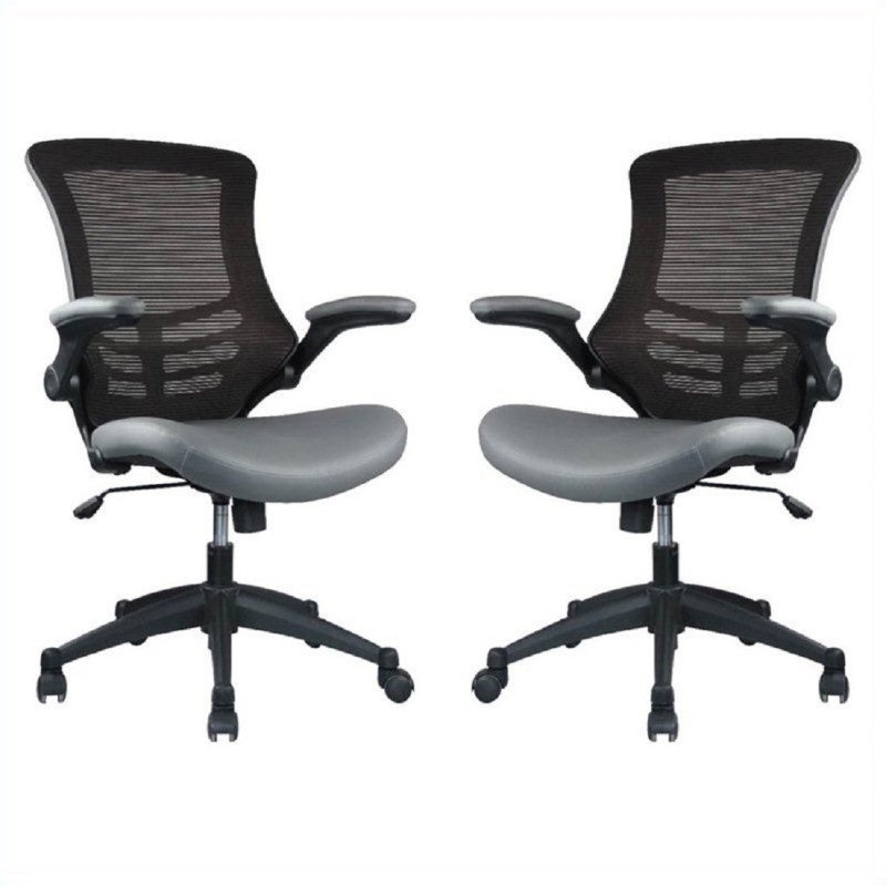 Manhattan Comfort Intrepid High-back  Office Chair in Coffee and Grey (Set of 2)