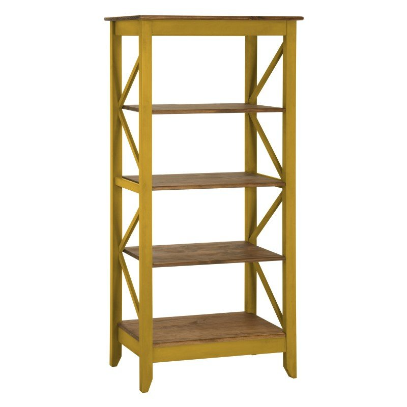 """Manhattan Comfort Jay 31.5"""" Solid Wood Bookcase with 4 Shelves in Yellow Wash (CS33002)"""