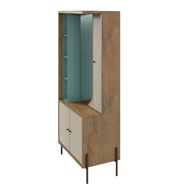 Manhattan Comfort Joy Vanity Jewelry Armoire with Mirror in Blue and Off White (350712)