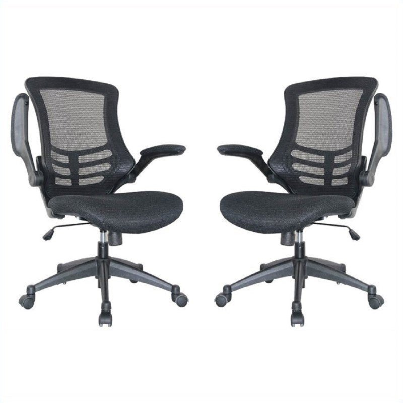 Manhattan Comfort Lenox Mesh Adjustable Office Chair in Black (Set of 2)