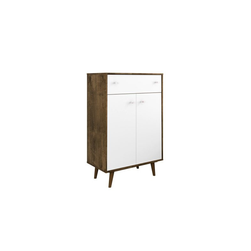"""Manhattan Comfort Liberty 1-Drawer 28.07"""" Storage Cabinet in Rustic Brown and White (211BMC96)"""