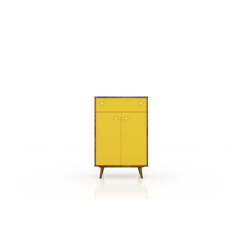 """Manhattan Comfort Liberty 1-Drawer 28.07"""" Storage Cabinet in Rustic Brown and Yellow (211BMC94)"""