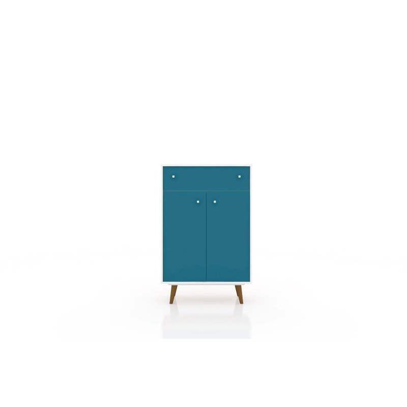 "Manhattan Comfort Liberty 1-Drawer 28.07"" Storage Cabinet in White and Aqua Blue (211BMC63)"
