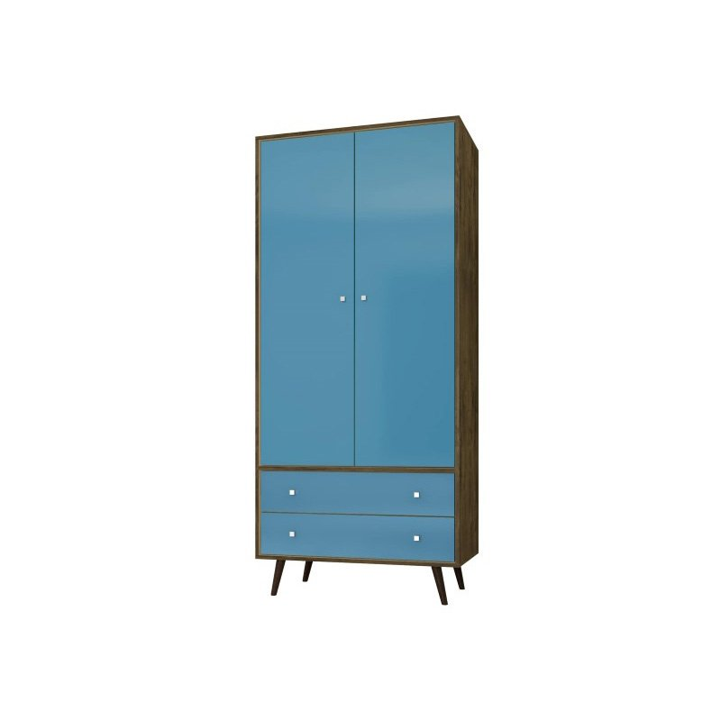 """Manhattan Comfort Liberty 31.89"""" Mid Century Modern Armoire with 2 Drawers/1 Shelf and Hanging Rod in Rustic Brown and Aqua Blue (207BMC93)"""
