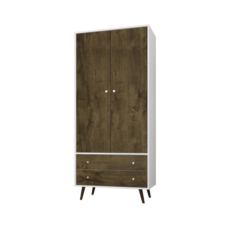 """Manhattan Comfort Liberty 31.89"""" Mid Century Modern Armoire with 2 Drawers/1 Shelf and Hanging Rod in White and Rustic Brown (207BMC69)"""