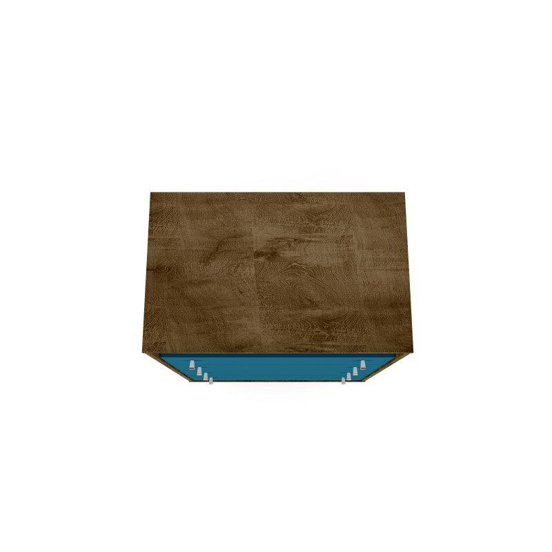 Manhattan Comfort Liberty 4-Drawer Dresser Chest in Rustic Brown and Aqua Blue (209BMC93)