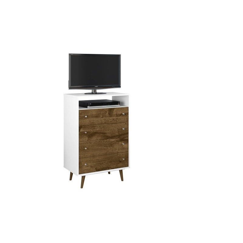 Manhattan Comfort Liberty 4-Drawer Dresser Chest in White and Rustic Brown (209BMC69)