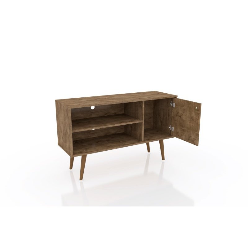 """Manhattan Comfort Liberty 42.52"""" Mid Century - Modern TV Stand with 2 Shelves and 1 Door in Rustic Brown and 3D Brown Prints (212BMC97)"""
