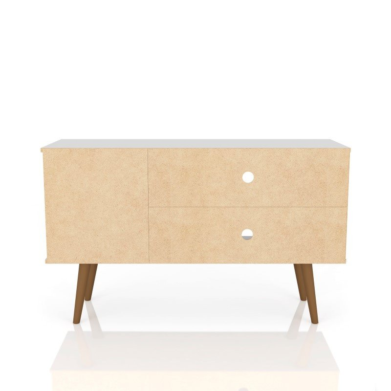 """Manhattan Comfort Liberty 42.52"""" Mid Century - Modern TV Stand with 2 Shelves and 1 Door in White and 3D (212BMC67)"""