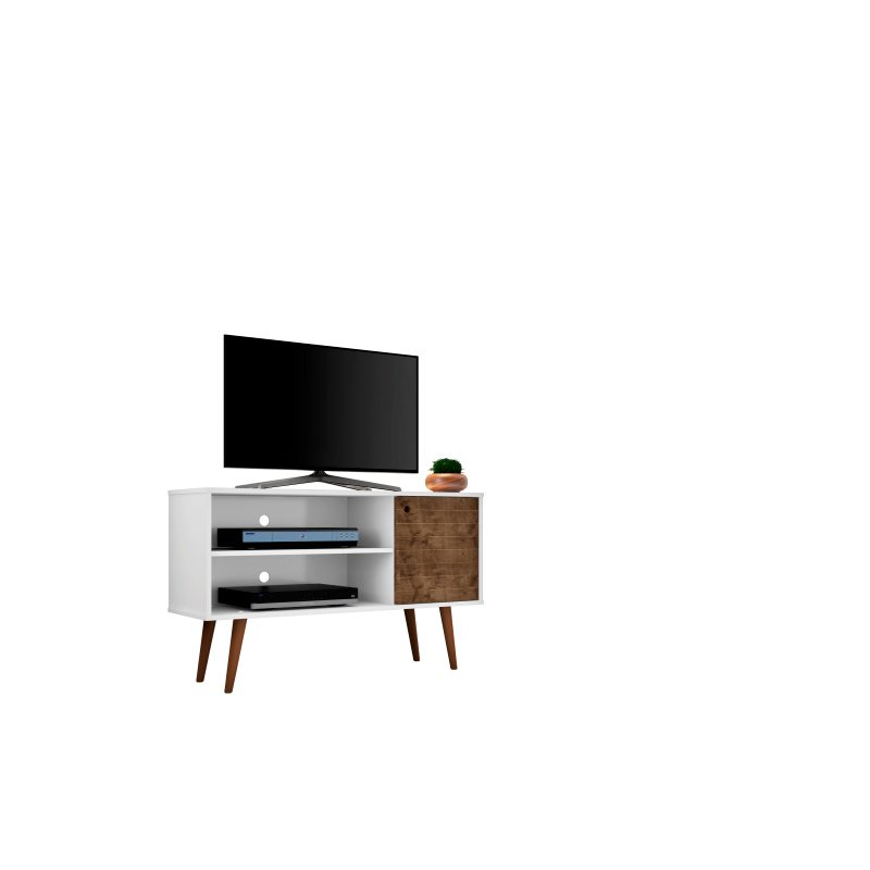 """Manhattan Comfort Liberty 42.52"""" Mid Century - Modern TV Stand with 2 Shelves and 1 Door in White and Rustic Brown (212BMC69)"""