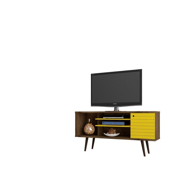"""Manhattan Comfort Liberty 53.14"""" Mid Century Modern TV Stand with 5 Shelves and 1 Door in Rustic Brown and Yellow with Solid Wood Legs (200AMC94)"""