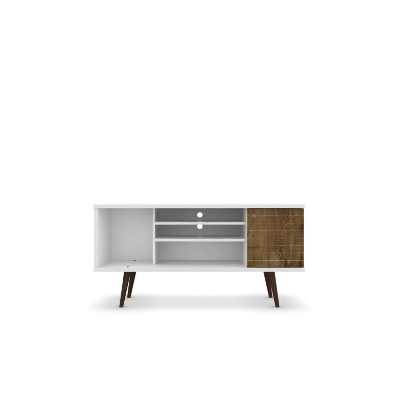 """Manhattan Comfort Liberty 53.14"""" Mid Century Modern TV Stand with 5 Shelves and 1 Door in White and Rustic Brown with Solid Wood Legs (200AMC69)"""