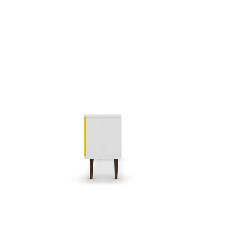 """Manhattan Comfort Liberty 53.14"""" Mid Century Modern TV Stand with 5 Shelves and 1 Door in White and Yellow with Solid Wood Legs (200AMC64)"""
