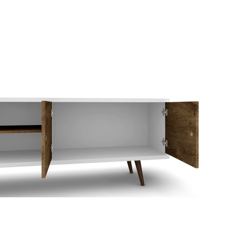 """Manhattan Comfort Liberty 62.99"""" Mid Century Modern TV Stand with 3 Shelves and 2 Doors in White and Rustic Brown with Solid Wood Legs (201AMC69)"""
