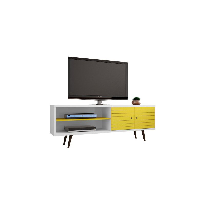"""Manhattan Comfort Liberty 62.99"""" Mid Century Modern TV Stand with 3 Shelves and 2 Doors in White and Yellow with Solid Wood Legs (201AMC64)"""