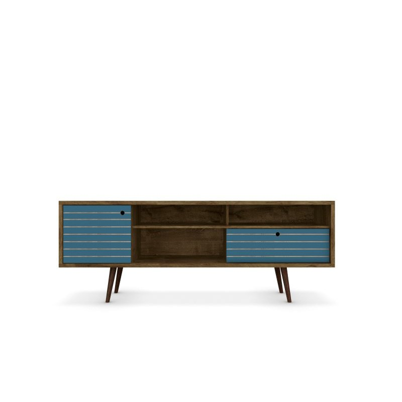 """Manhattan Comfort Liberty 70.86"""" Mid Century Modern TV Stand with 4 Shelves and 1 Drawer in Rustic Brown and Aqua Blue with Solid Wood Legs (202AMC93)"""
