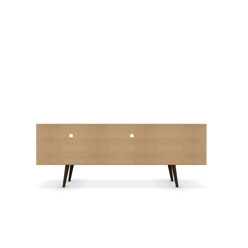 """Manhattan Comfort Liberty 70.86"""" Mid Century Modern TV Stand with 4 Shelves and 1 Drawer in White and Yellow with Solid Wood Legs (202AMC64)"""