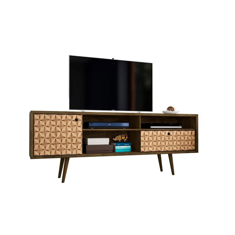 """Manhattan Comfort Liberty 70.86"""" Mid Century - Modern TV Stand with 4 Shelving Spaces and 1 Drawer in Rustic Brown and 3D Brown Prints (202AMC97)"""