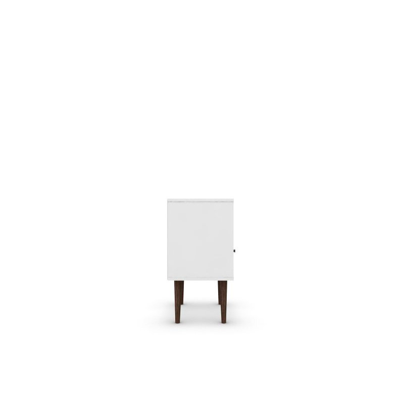 Manhattan Comfort Liberty Mid Century Modern 1.0 Nightstand with 1 Cubby Space and 1 Drawer in White and Aqua Blue with Solid Wood Legs (203AMC64)