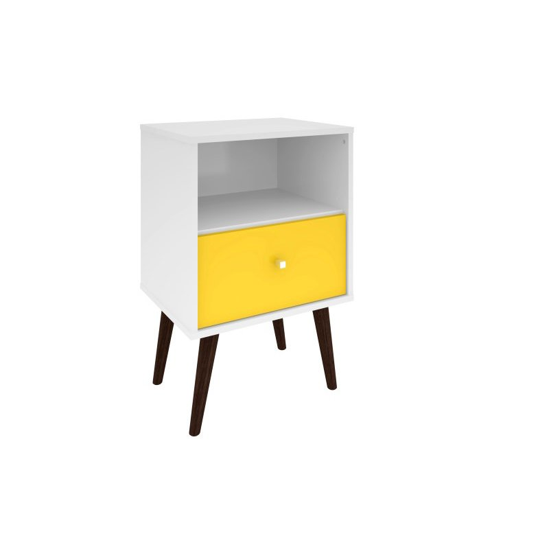 Manhattan Comfort Liberty Mid Century Modern 1.0 Nightstand with 1 Cubby Space and 1 Drawer in White and Yellow with Solid Wood Legs (203AMC63)