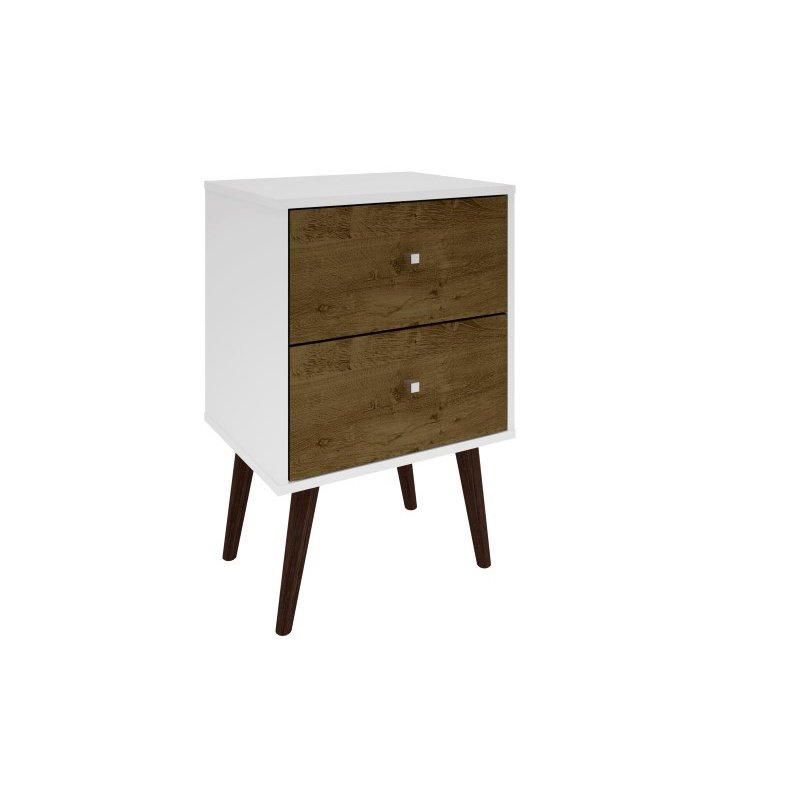 Manhattan Comfort Liberty Mid Century Modern 2.0 Nightstand with 2 Full Extension Drawers in White and Rustic Brown with Solid Wood Legs (204AMC69)