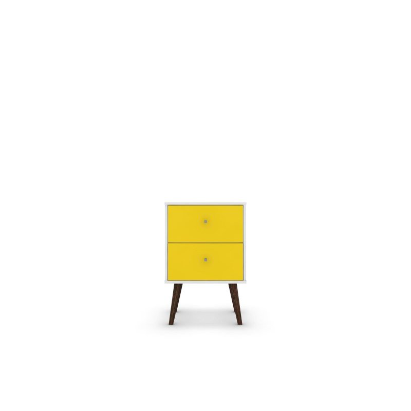 Manhattan Comfort Liberty Mid Century Modern 2.0 Nightstand with 2 Full Extension Drawers in White and Yellow with Solid Wood Legs (204AMC63)