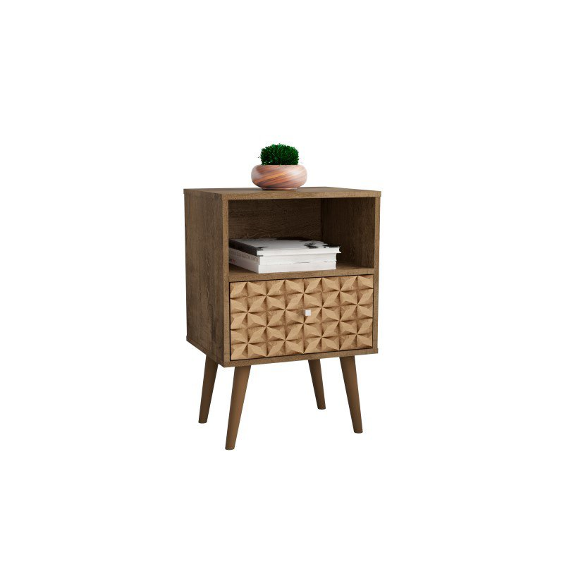 Manhattan Comfort Liberty Mid Century - Modern Nightstand 1.0 with 1 Cubby Space and 1 Drawer in Rustic Brown and 3D Brown Prints (203AMC97)