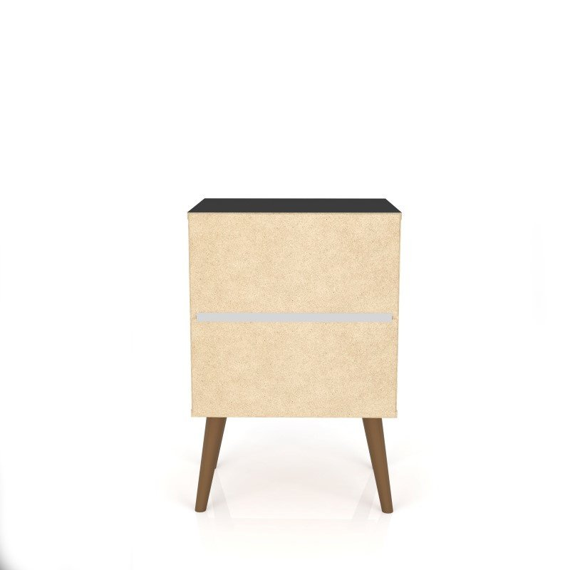 Manhattan Comfort Liberty Mid Century - Modern Nightstand 2.0 with 2 Full Extension Drawers in Black (204AMC8)