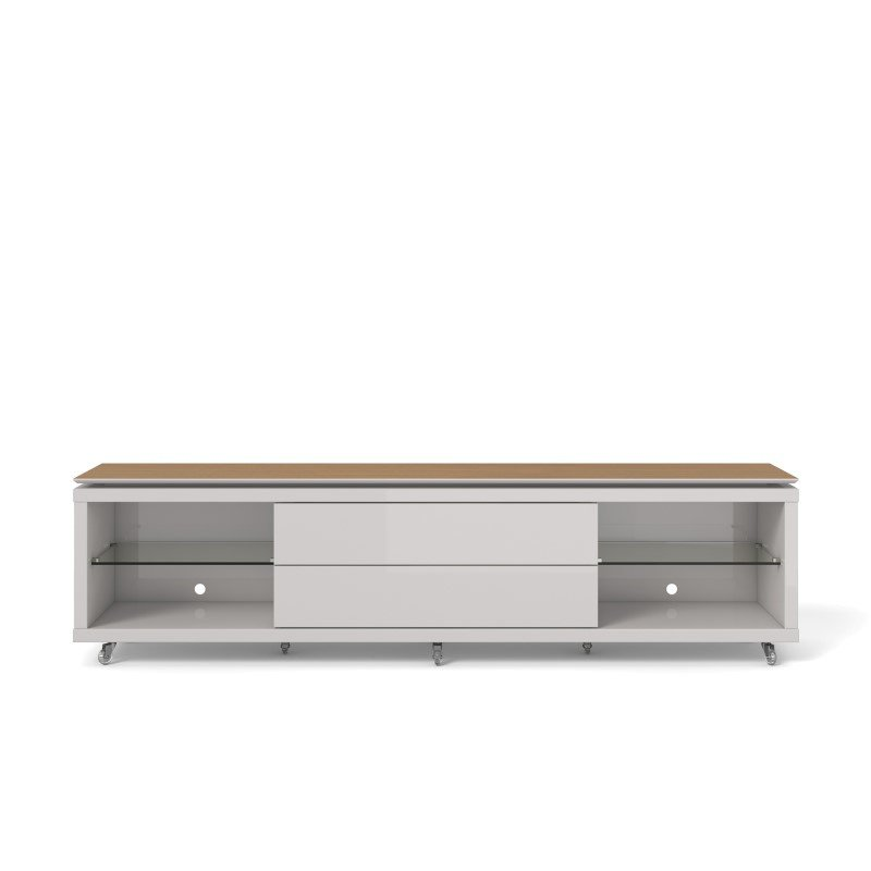 Manhattan Comfort Lincoln 2.2 TV Stand with Silicone Casters in Maple Cream and Off White