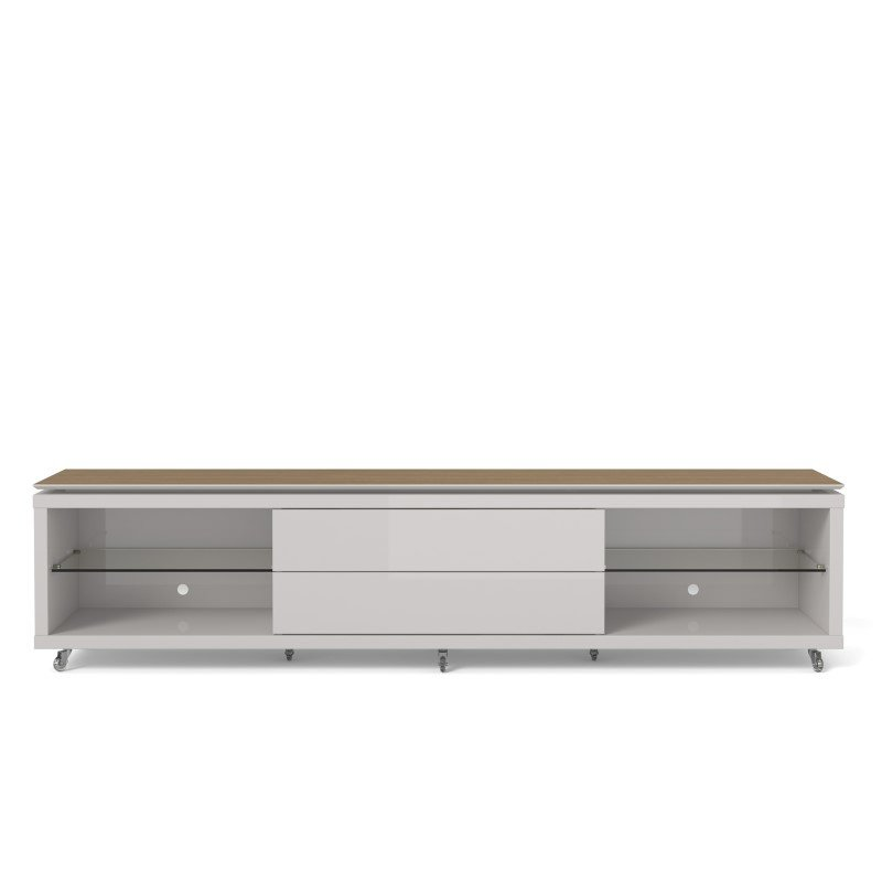 Manhattan Comfort Lincoln 2.4 TV Stand with Silicone Casters in Maple Cream and Off White