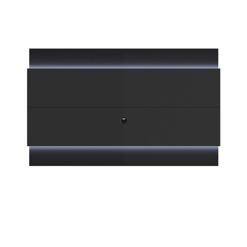 Manhattan Comfort Lincoln Floating Wall TV Panel 2.2 with LED Lights in Black Gloss and Black Matte