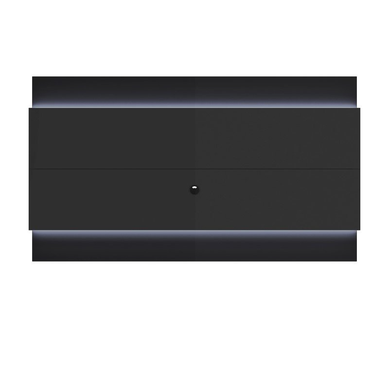 Manhattan Comfort Lincoln Floating Wall TV Panel 2.4 with LED Lights in Black Gloss and Black Matte